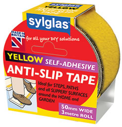 Anti-Slip Tape - A Self adhesive tape ideal for problem steps, decking or pathways around the house where people can lose their footing. A quick and cost effective solution which could save a slip or trip related accident. Available in black, yellow or clear